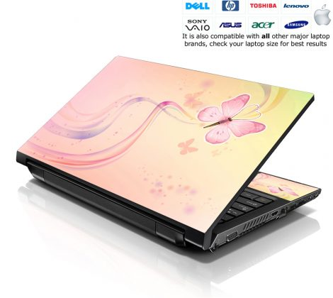 Notebook / Netbook Skin Cover Decal – Pink Butterfly