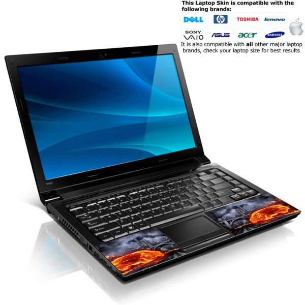 Notebook / Netbook Skin Cover Decal – Flame Race Car