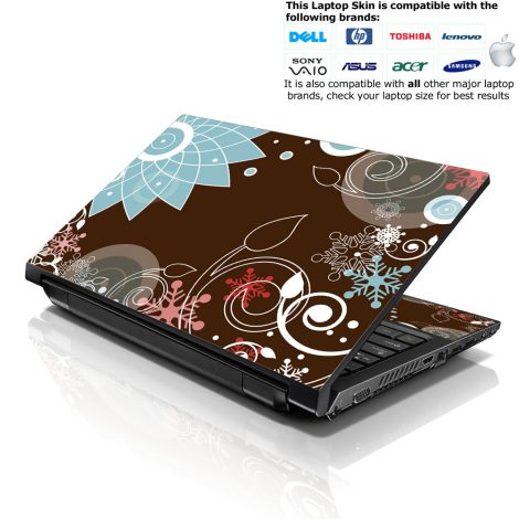 Notebook / Netbook Skin Cover Decal – Brown Choas Floral