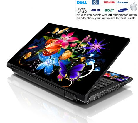 Notebook / Netbook Skin Cover Decal – Multi Colored Floral