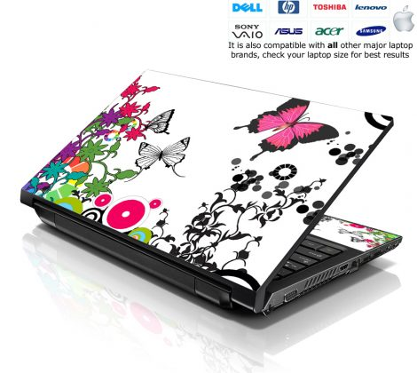 Notebook / Netbook Skin Cover Decal – Forest Butterflies