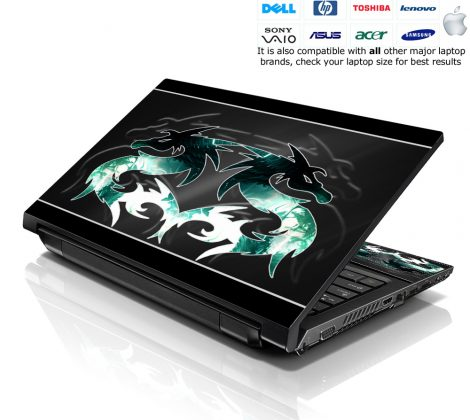 Notebook / Netbook Skin Cover Decal – Twin Dragons