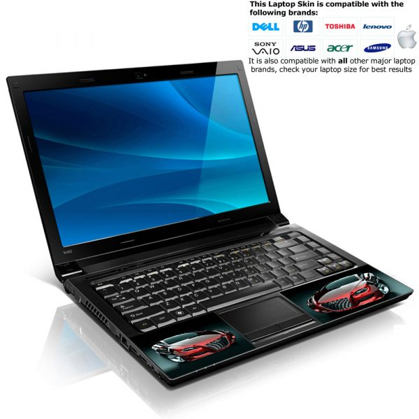 Notebook / Netbook Skin Cover Decal – Red Audi Car