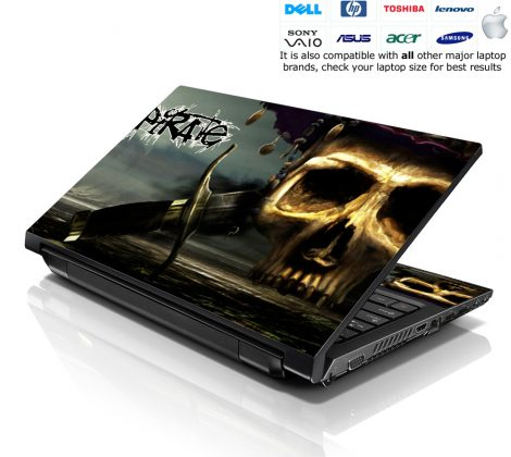 Notebook / Netbook Skin Cover Decal – Pirate Skull