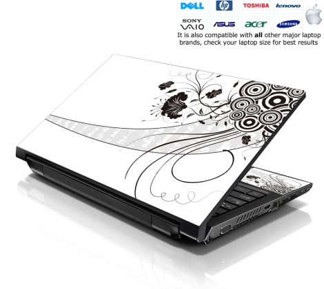 Notebook / Netbook Skin Cover Decal – White Floral