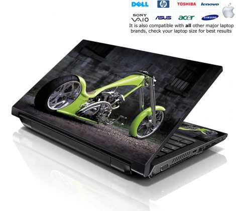 Notebook / Netbook Skin Cover Decal – Green Motorcycle Chopper