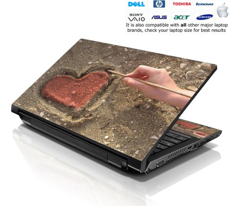 Notebook / Netbook Skin Cover Decal – Red Heart in Sand