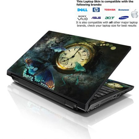 Notebook / Netbook Skin Cover Decal – Clock Butterfly
