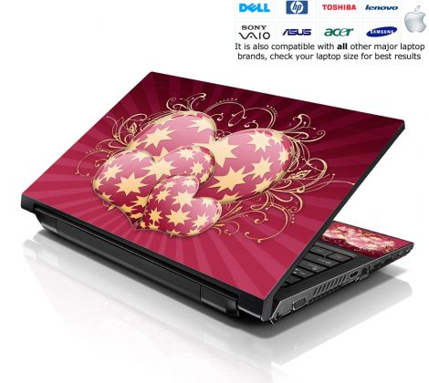 Notebook / Netbook Skin Cover Decal – Star Hearts