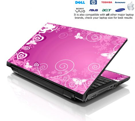 Notebook / Netbook Skin Cover Decal – Pink Cupid Butterfly