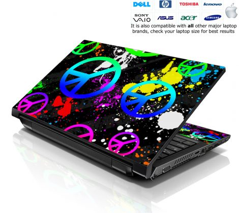 Notebook / Netbook Skin Cover Decal – Peace Signs