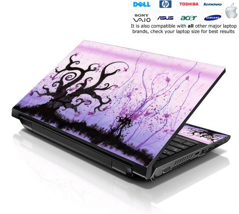 Notebook / Netbook Skin Cover Decal – Futuristic Trees Light Purple