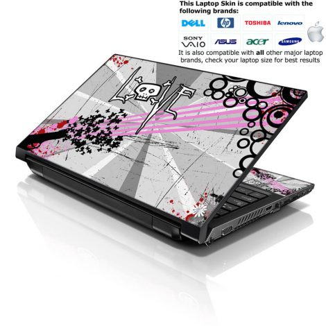 Notebook / Netbook Skin Cover Decal – Love Skull Floral