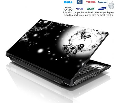 Notebook / Netbook Skin Cover Decal – Butterfly Floral