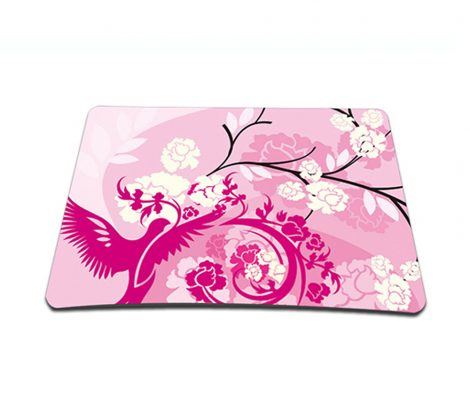 Standard 7 x 9 Inch Mouse Pad - Pink Birds Floral