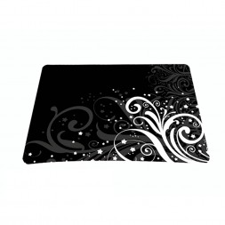 Standard 7 x 9 Inch Mouse Pad - Black and White Floral