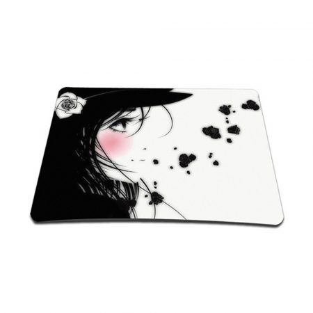 Standard 7 x 9 Inch Mouse Pad - Girl with White Rose