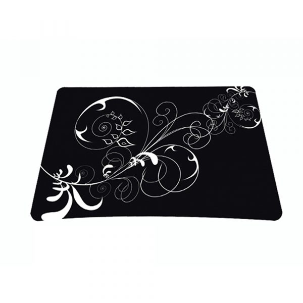 Standard 7 x 9 Inch Mouse Pad - Vines Black and White Swirl Floral