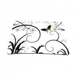 Standard 7 x 9 Inch Mouse Pad - White Butterfly Escape Floral