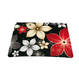 Standard 7 x 9 Inch Mouse Pad - Black Gray Red Flower Leaves