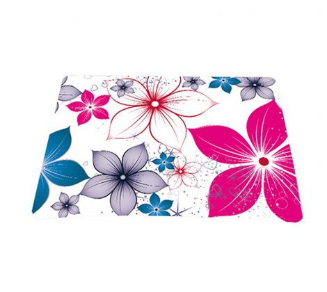Standard 7 x 9 Inch Mouse Pad - White Pink Blue Flower Leaves
