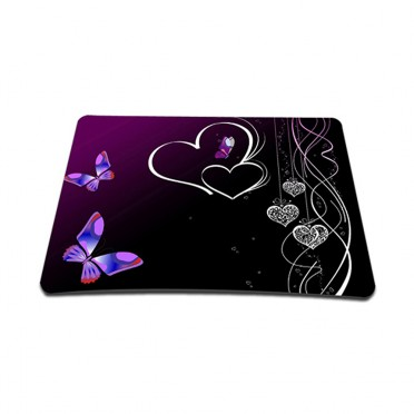 Standard 7 x 9 Inch Mouse Pad - Butterfly Heart Floral