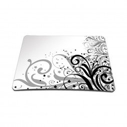 Standard 7 x 9 Inch Mouse Pad - Grey Swirl Black & White Floral