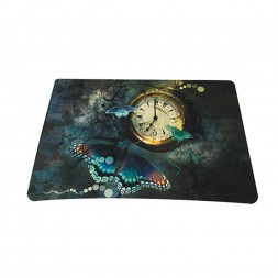 Standard 7 x 9 Inch Mouse Pad - Clock Butterfly Floral