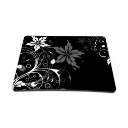 Standard 7 x 9 Inch Mouse Pad – Black and White Floral