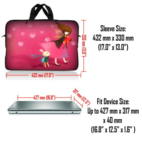Notebook / Netbook Sleeve Carrying Case w/ Handle & Adjustable Shoulder Strap & Matching Skin & Mouse Pad – Girl Birthday Party