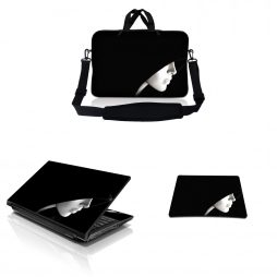 Notebook / Netbook Sleeve Carrying Case w/ Handle & Adjustable Shoulder Strap & Matching Skin & Mouse Pad – Lady in Hood