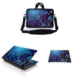 Notebook / Netbook Sleeve Carrying Case w/ Handle & Adjustable Shoulder Strap & Matching Skin & Mouse Pad – Blue Swirl Mid Summer Night Floral