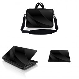 Notebook / Netbook Sleeve Carrying Case w/ Handle & Adjustable Shoulder Strap & Matching Skin & Mouse Pad – Twilight Grey Black