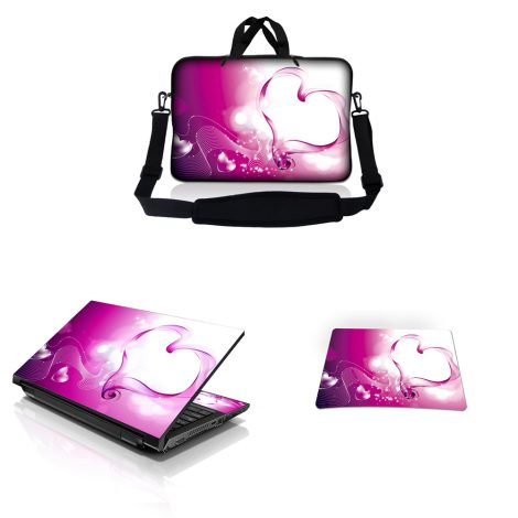 Notebook / Netbook Sleeve Carrying Case w/ Handle & Adjustable Shoulder Strap & Matching Skin & Mouse Pad – Pink Heart