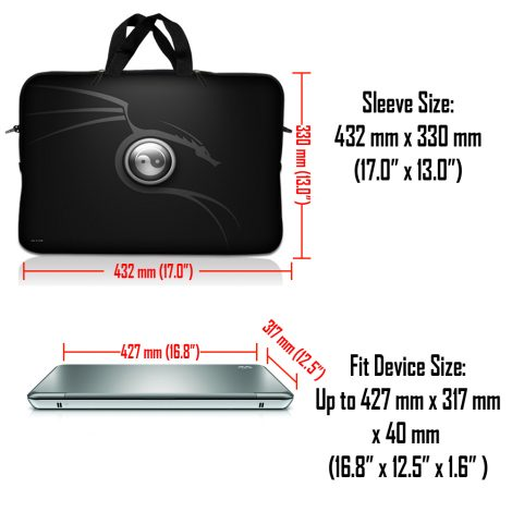 Notebook / Netbook Sleeve Carrying Case w/ Handle & Adjustable Shoulder Strap & Matching Skin & Mouse Pad – Ying Yang Black