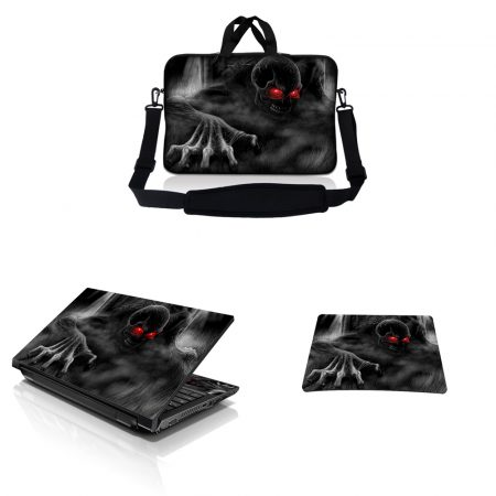 Notebook / Netbook Sleeve Carrying Case w/ Handle & Adjustable Shoulder Strap & Matching Skin & Mouse Pad – Red Eye Dark Ghost Zombie Skull