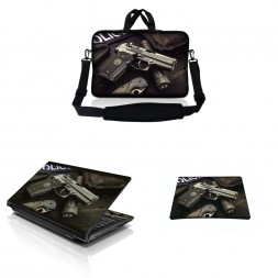 Notebook / Netbook Sleeve Carrying Case w/ Handle & Adjustable Shoulder Strap & Matching Skin & Mouse Pad – Police Gun Weapons