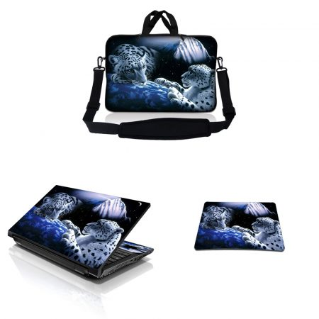 Notebook / Netbook Sleeve Carrying Case w/ Handle & Adjustable Shoulder Strap & Matching Skin & Mouse Pad – Mountain Lions