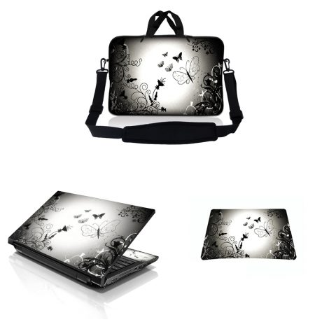 Notebook / Netbook Sleeve Carrying Case w/ Handle & Adjustable Shoulder Strap & Matching Skin & Mouse Pad – Dark Contrast Fade Butterfly