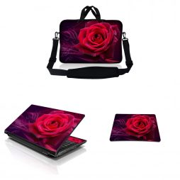 Notebook / Netbook Sleeve Carrying Case w/ Handle & Adjustable Shoulder Strap & Matching Skin & Mouse Pad – Pink Rose Floral Flower