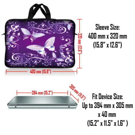 Notebook / Netbook Sleeve Carrying Case w/ Handle & Adjustable Shoulder Strap & Matching Skin & Mouse Pad – Purple Butterfly