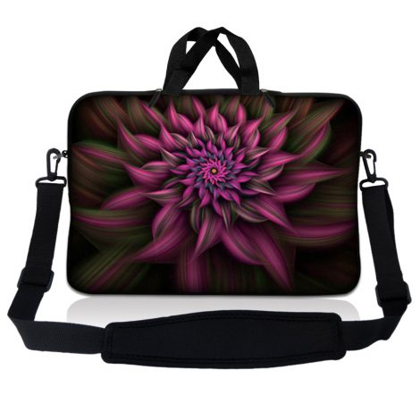 Notebook / Netbook Sleeve Carrying Case w/ Handle & Adjustable Shoulder Strap & Matching Skin & Mouse Pad – Purple Floral Flower