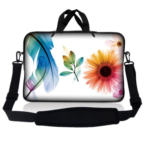 Notebook / Netbook Sleeve Carrying Case w/ Handle & Adjustable Shoulder Strap & Matching Skin & Mouse Pad – Daisy Flower Leaves Floral