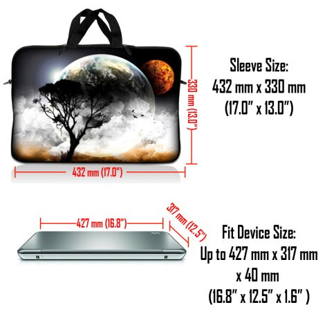 Notebook / Netbook Sleeve Carrying Case w/ Handle & Adjustable Shoulder Strap & Matching Skin & Mouse Pad – Earth and Moon Eclipse