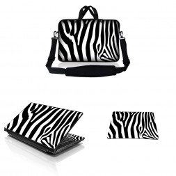 Notebook / Netbook Sleeve Carrying Case w/ Handle & Adjustable Shoulder Strap & Matching Skin & Mouse Pad – Zebra Print