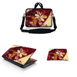 Notebook / Netbook Sleeve Carrying Case w/ Handle & Adjustable Shoulder Strap & Matching Skin & Mouse Pad – Gold Flower Floral