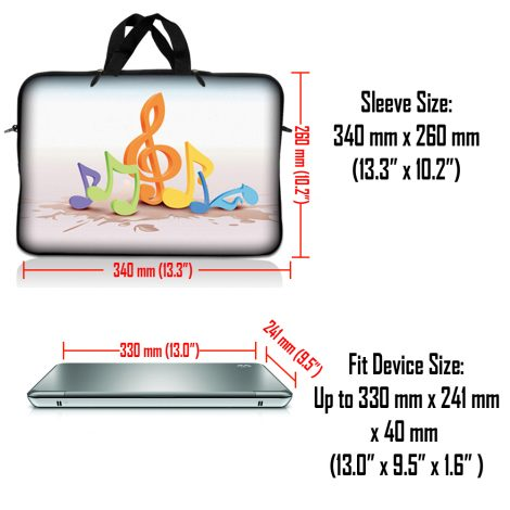 Notebook / Netbook Sleeve Carrying Case w/ Handle & Adjustable Shoulder Strap & Matching Skin & Mouse Pad – Musical Notes