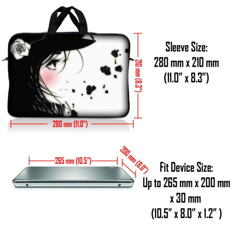 Notebook / Netbook Sleeve Carrying Case w/ Handle & Adjustable Shoulder Strap & Matching Skin & Mouse Pad – Girl with White Rose