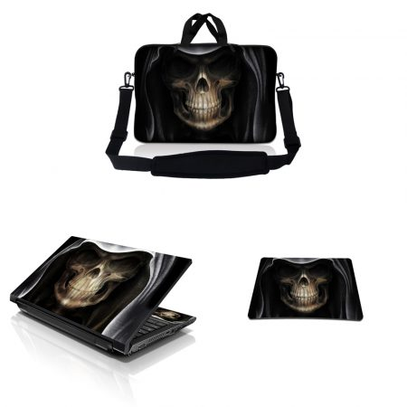 Notebook / Netbook Sleeve Carrying Case w/ Handle & Adjustable Shoulder Strap & Matching Skin & Mouse Pad – Hooded Dark Lord Skull