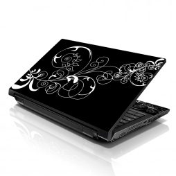 Notebook / Netbook Sleeve Carrying Case w/ Handle & Adjustable Shoulder Strap & Matching Skin & Mouse Pad – Black and White Swirl Floral